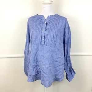 Lane Bryant Linen Chambray Top Womens 14/16